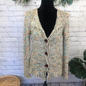 BCBG Multicolored button down knit cardigan
